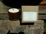 Soy candle with wooden wick. Scented with essential oils and hand poured into reusable ceramic pot.